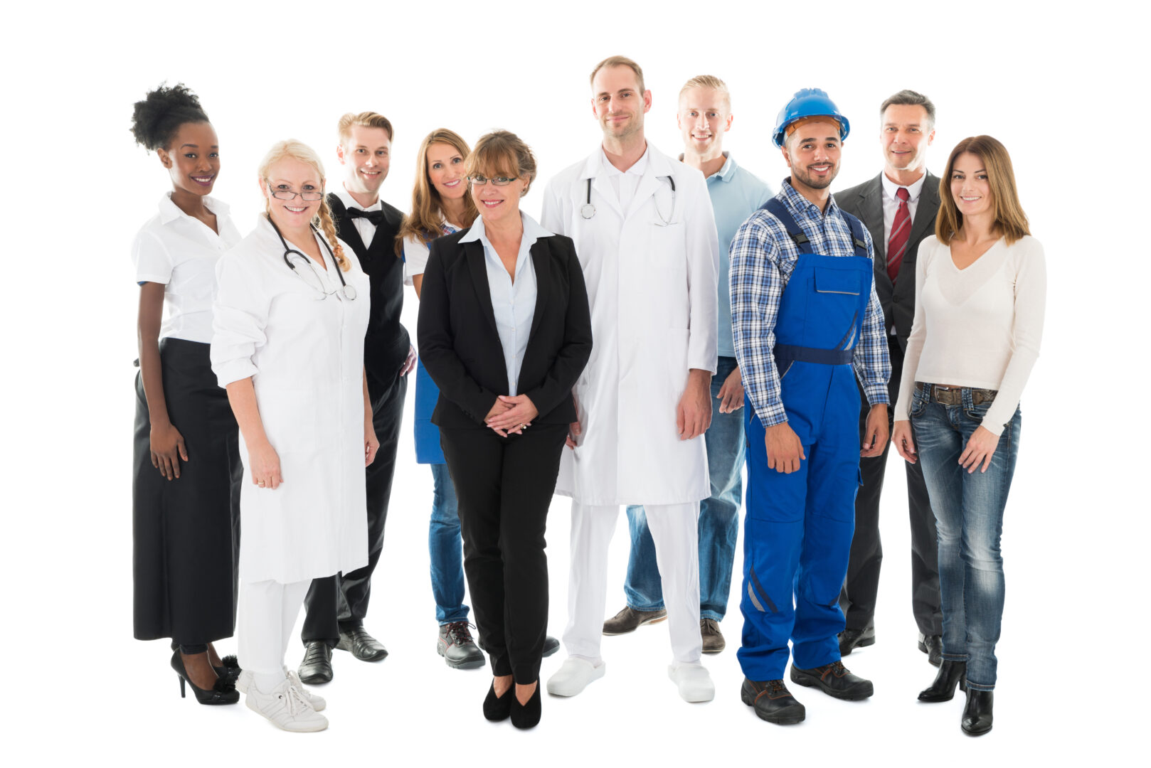 Group portrait of confident people with various occupations standing against white background